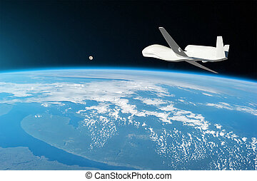 Unmanned aircraft flying in the upper atmosphere, the study of the gas shells of the planet Earth, moonrise on the horizon. Elements of this image furnished by NASA