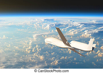 Unmanned aircraft flying in the upper atmosphere, the study of the gas shells of the planet Earth. Elements of this image furnished by NASA