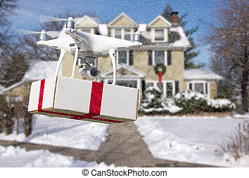 Unmanned Aircraft System (UAV) Quadcopter Drone Delivering Box With Red Ribbon To Home
