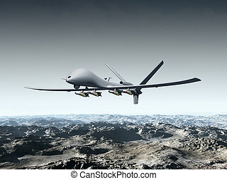 Unmanned Combat Air Vehicle - Illustration of a combat drone...