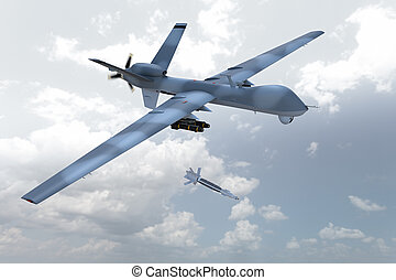 Unmanned Drone - 3d render of an unmanned aerial vehicle, or...