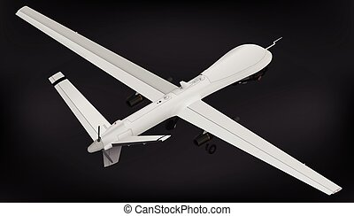unmanned, isométrico, zángano, aéreo, vehículo