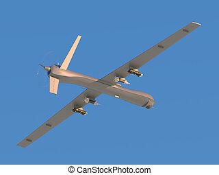 unmanned, luftaufnahmen, fahrzeug, in, der, himmelsgewölbe