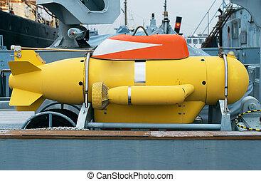 unmanned, vehículo submarino, en, el, ship.