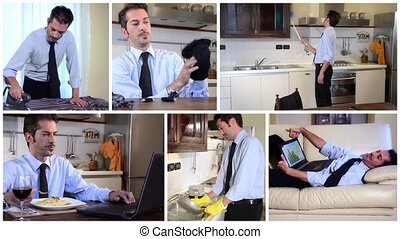 unmarried businessman at home