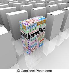 uno, único, diferente, caja, beneficios, muchos, elecciones