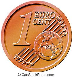 uno, (1), moneda, centavo, euro