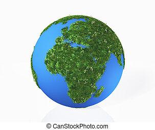 uno, 3d, interpretazione, di, mondo, quello, ha, continenti, europa, e, africa, fatto, vicino, erba, e, fiori, su, uno, sfondo bianco