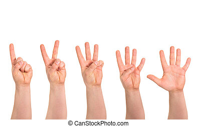 uno, a, cinque, dita, conteggio, gesto mano, isolato