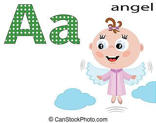 uno, alfabeto, bambini