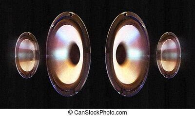 uno, altoparlante, cono, pompaggio, a, il, suono, di, il,...
