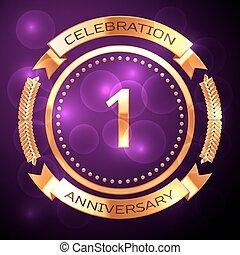 uno, anni, celebrazione anniversario, con, dorato, anello, e, nastro, su, viola, fondo.