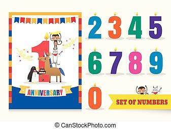 uno, anno, anniversario, bambini, celebrazione compleanno, fondo, con, animali, cartone animato, e, numeri, sagoma