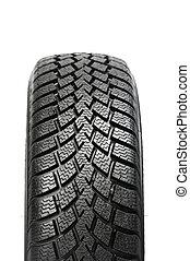 uno, automóvil, rueda de coche, invierno, neumático, aislado