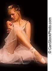 uno, ballerina, con, rosa, -, morbido, fuoco.