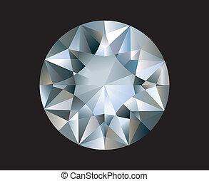 uno, baluginante, luminoso, diamond., vettore