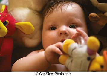 uno, bambino, circondato, vicino, giocattoli
