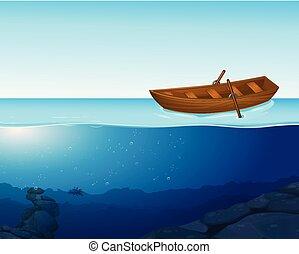 uno, barca, uno, su, il, acqua