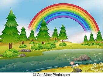 uno, bello, arcobaleno, paesaggio fiume