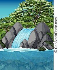 uno, bello, cascata, paesaggio