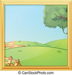 uno, bello, paesaggio, cornice foto