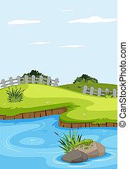 uno, bello, paesaggio fiume