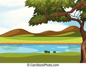 uno, bello, paesaggio natura