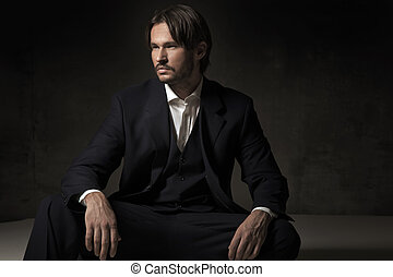 uno, bello, seduta, uomo