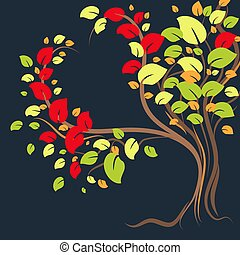 uno, bello, solitario, albero, con, colorito, foglie, in, il, forma, di, uno, heart., vettore