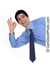 uno - bien, dar, entusiasmado, hombre, señal