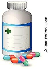 uno, bottiglia, di, colorito, capsula