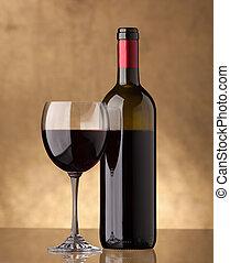 uno, bottiglia vino rosso, e, pieno, uno, vetro vino