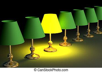 uno, brillado, lámpara de escritorio, among., 3d, image.