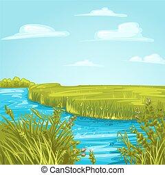 uno, canale fiume, in, delta