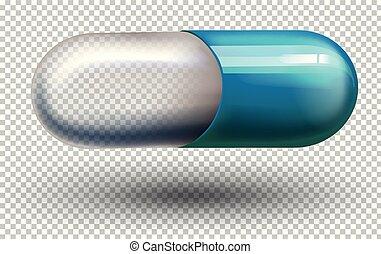 uno, capsula, su, trasparente, fondo