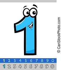 uno, carattere, cartone animato, numero