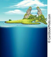 uno, cascata, isola, e, subacqueo