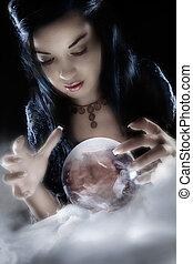 uno, cassiere fortuna, sguardi fissi, in, lei, sfera cristallo