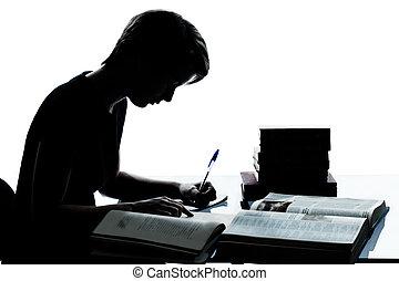 uno, caucásico, joven, adolescente, silueta, niño, o, niña, estudiar, lectura, libros, en, estudio, recortar, aislado, blanco, plano de fondo