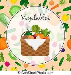 uno, cesto, pieno, di, verdure fresche
