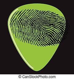 uno, chitarra sceglie, con, uno, impronta digitale