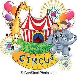 uno, circo, mostra, con, bambini, e, animali