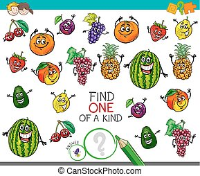 uno clase, actividad, con, fruta, caracteres