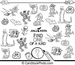 uno clase, con, halloween, characterss, color, libro