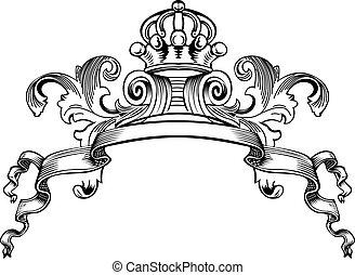 uno, colorare, corona reale, vendemmia, curve, bandiera