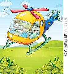 uno, colorito, elicottero, con, felice, bambini