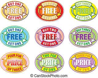 uno, comprare, libero, ottenere