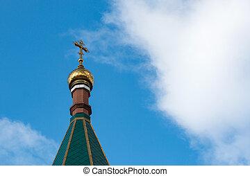 uno, cristiano, croce, cupola dorata