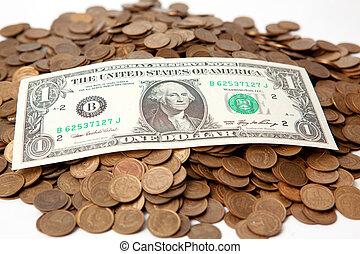uno, dólar de los e.e.u.u, en, un, pena, de, copecks, de,...