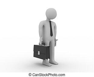 uno, depresso, persona, leva piedi, lonely., 3d, rendered., illustrazione